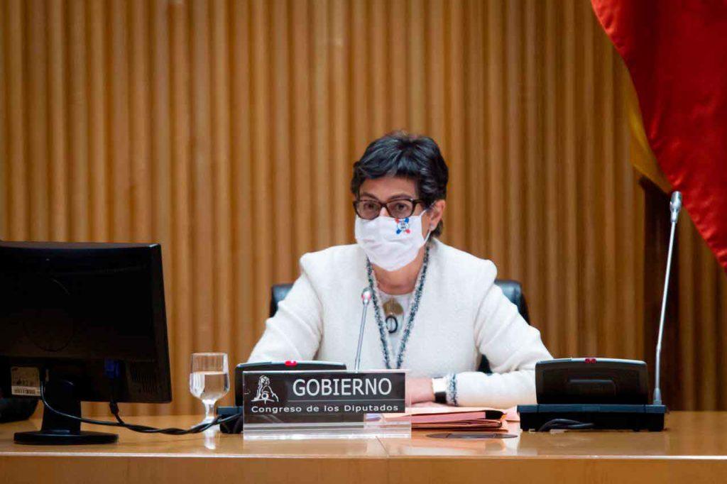 La ministra Arancha González Laya durante su comparecencia en el Congreso.