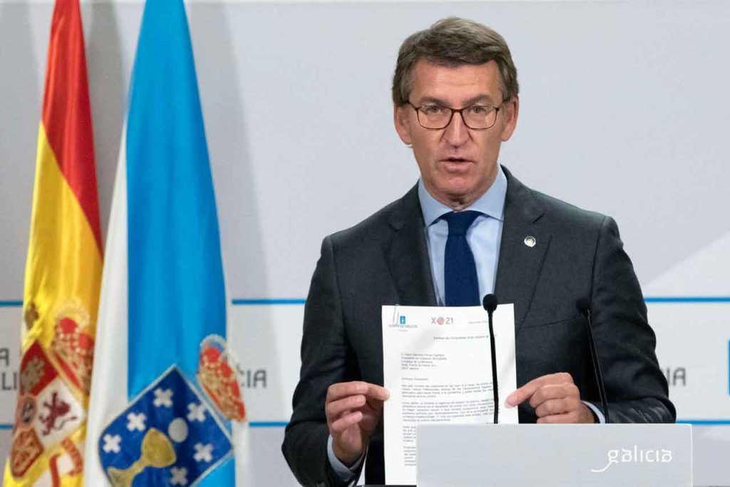 El presidente de la Xunta de Galicia, Alberto Núñez Feijóo, en la rueda de prensa que ofreció tras la Conferencia de Presidentes.
