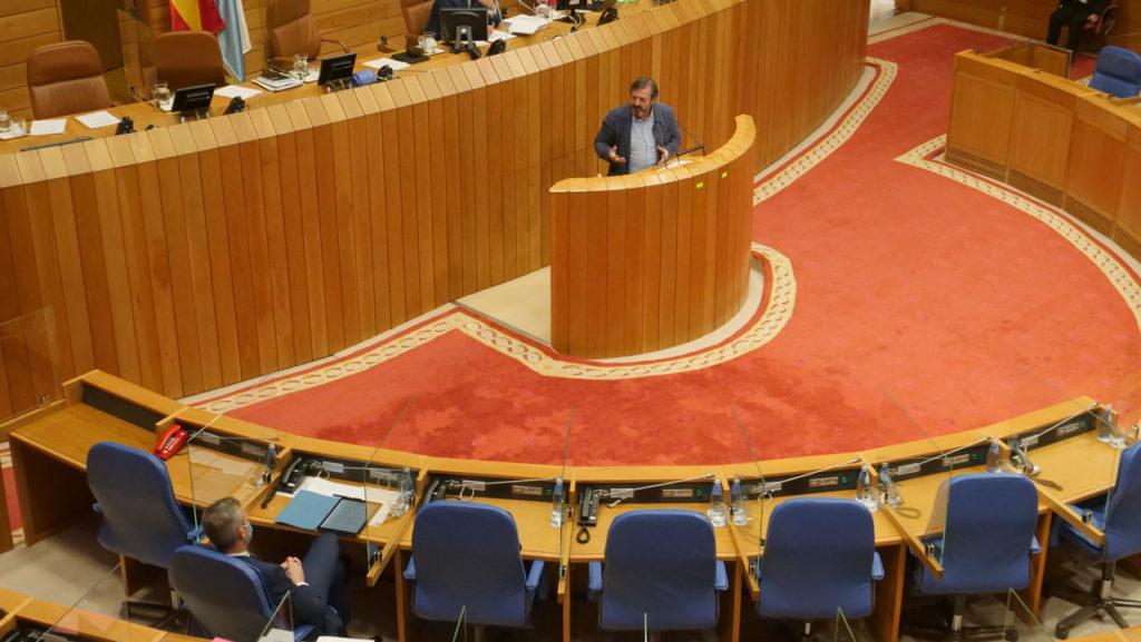El diputado del BNG, Luis Bará, durante su intervención.