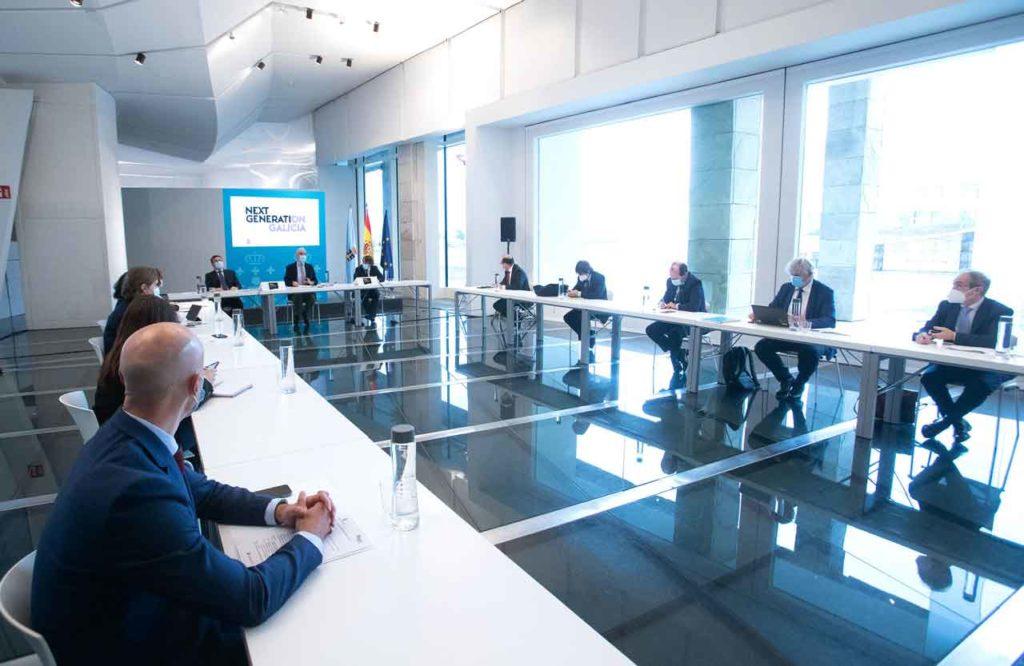 Imagen de la segunda reunión de la comisión Next Generation Galicia que se encarga de analizar los proyectos que se presentarán a los fondos europeos.