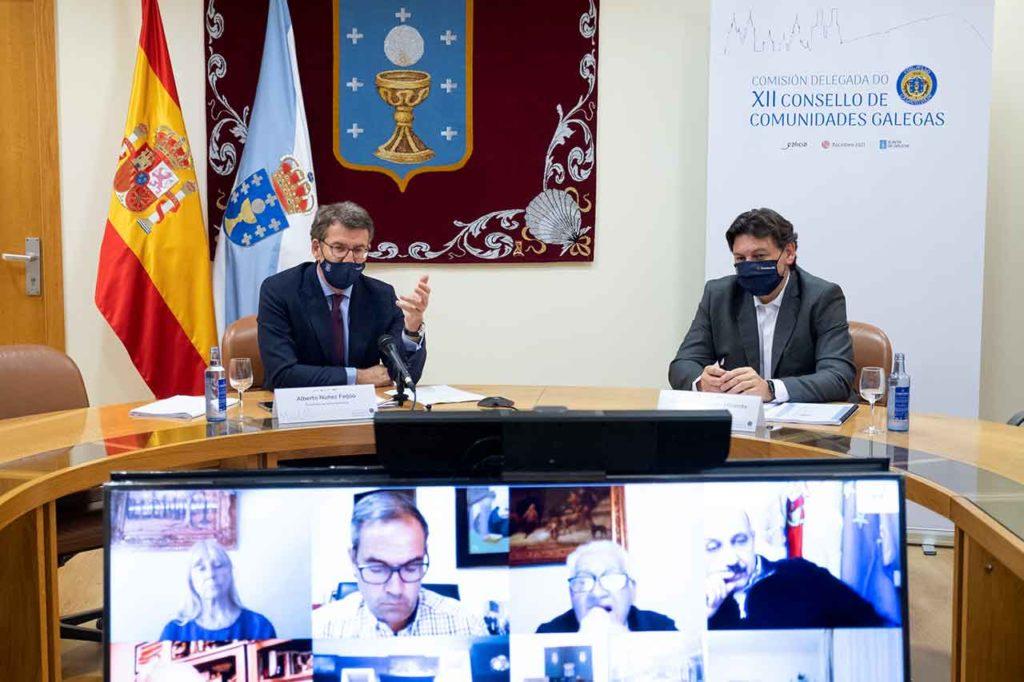 El presidente Núñez Feijóo intervino ante la Comisión Delegada del Consello de Comunidades en presencia del secretario xeral da Emigración, Antonio Rodríguez Miranda.