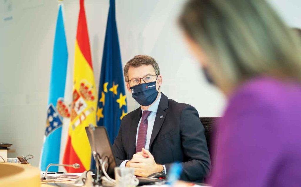 El presidente gallego, Alberto Núñez Feijóo, durante la reunión del Consello de la Xunta del 29 de diciembre.