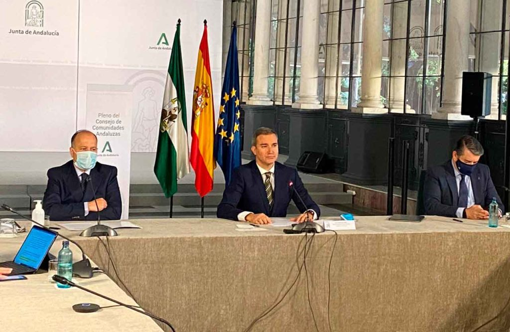 Amós García Hueso, en el centro, durante el XI Pleno del Consejo de Comunidades Andaluzas.