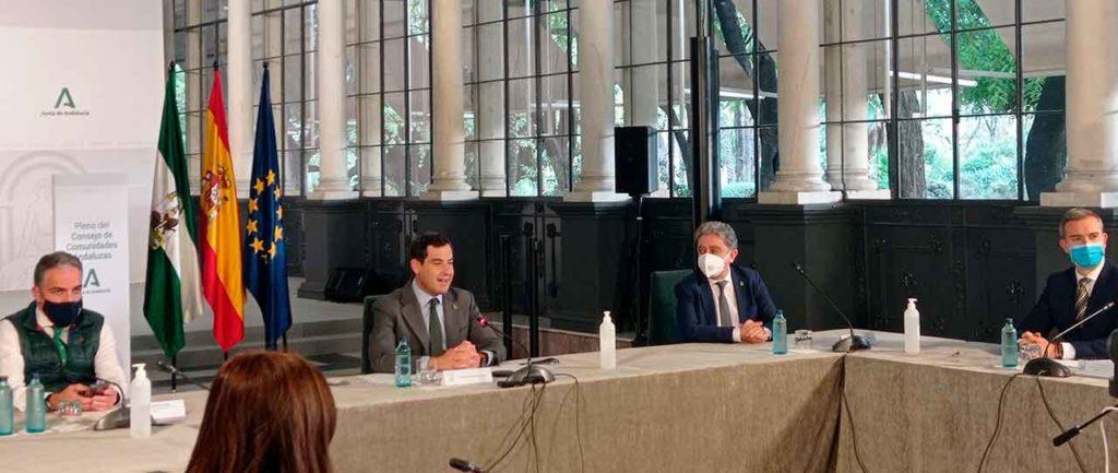 Elías Bendodo, Juanma Moreno, Enrique Millo y Amós García durante el pleno del Consejo de Comunidades Andaluzas.