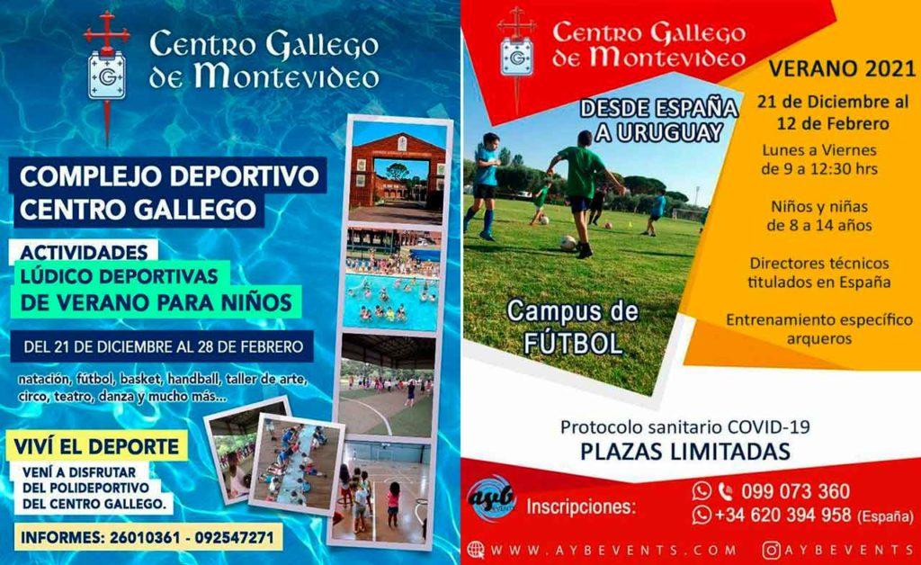 Cartel informativa de las actividades organizadas por el Centro Gallego de Montevideo.