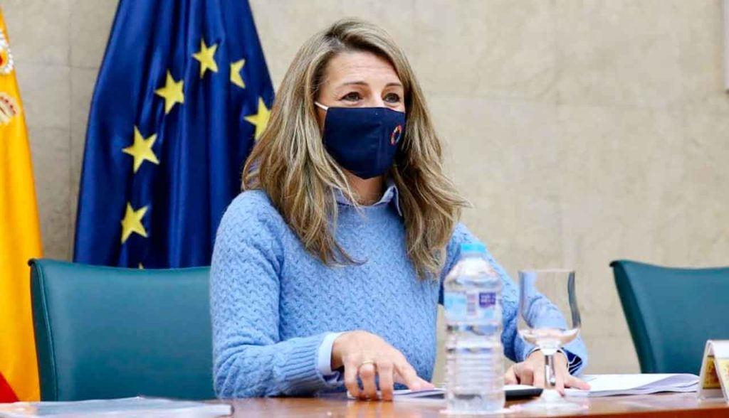 La ministra Yolanda Díaz en un momento de la reunión.