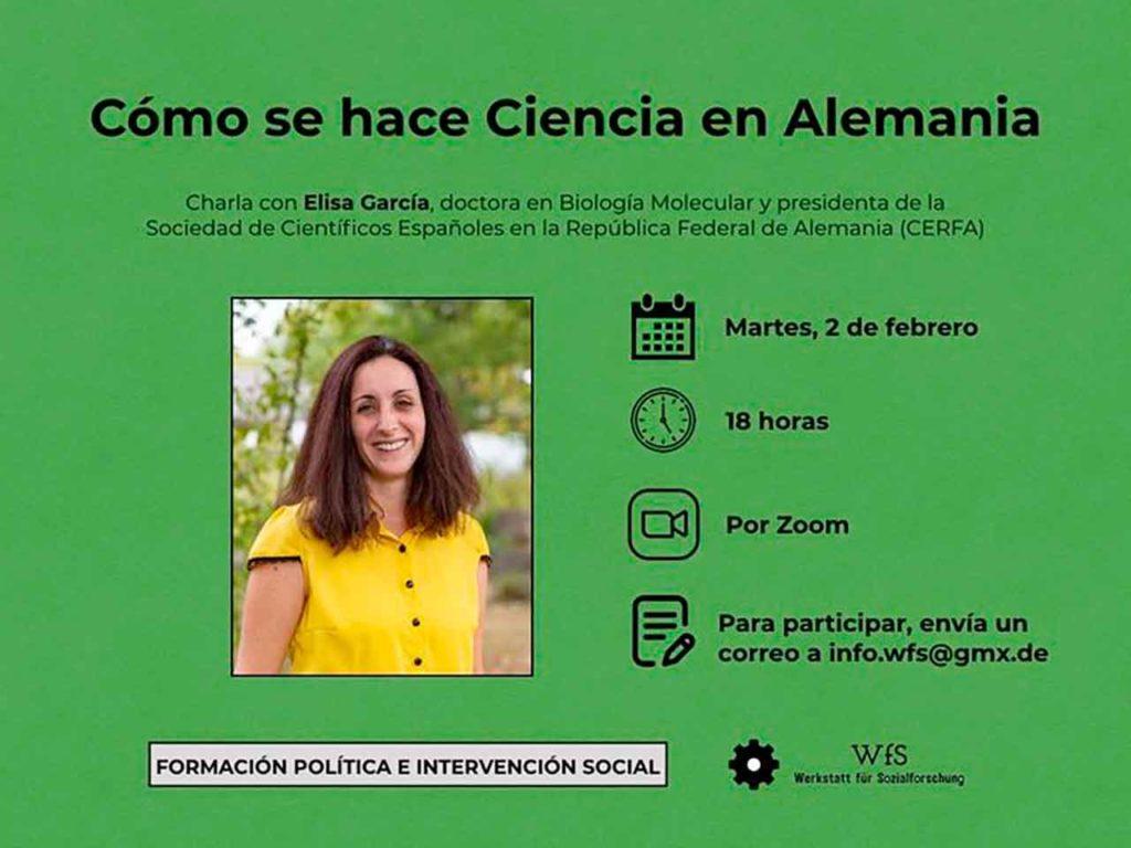Cartel de la charla de Elisa García.