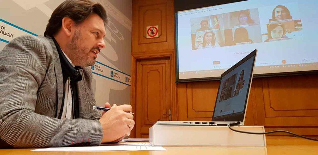 Antonio Rodríguez Miranda durante la videoconferencia.