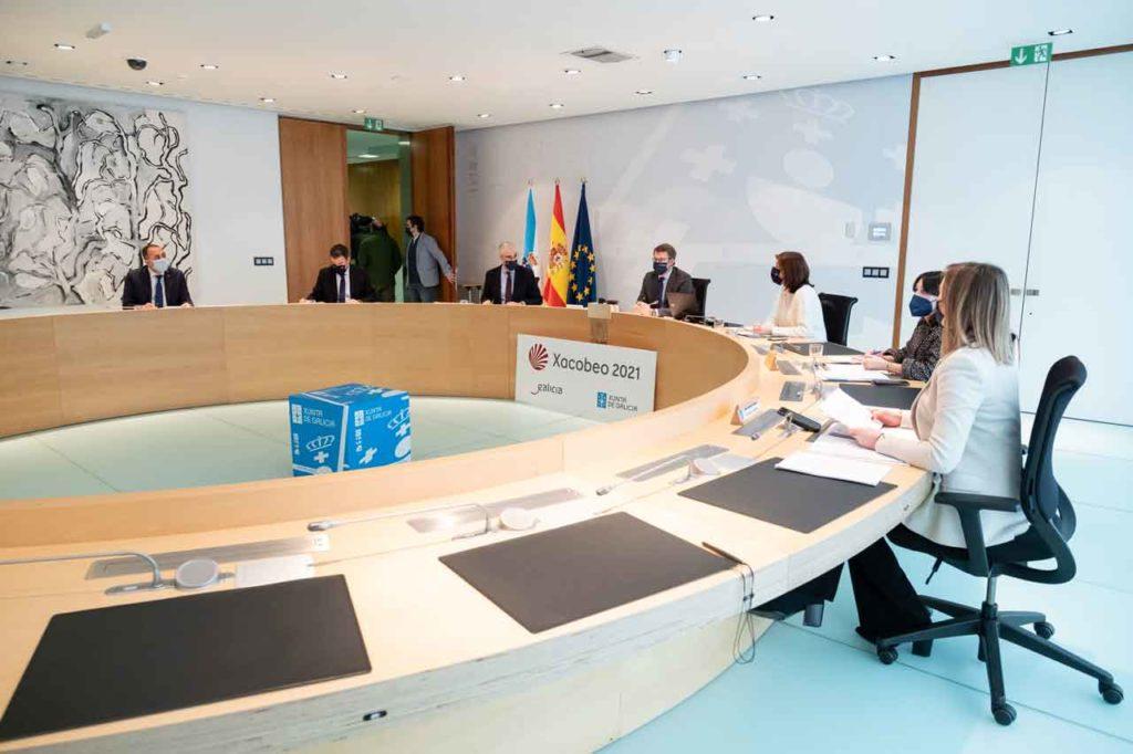 Imagen de la reunión del Gobierno gallego del 14 de enero que abordó estas medidas sobre el Brexit.