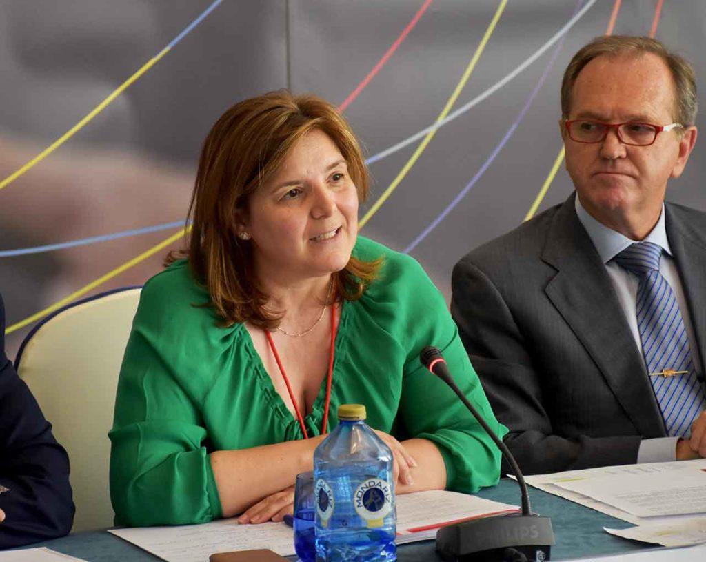 Pilar Cancela durante su intervención en el pleno del CGEE celebrado en 2018.