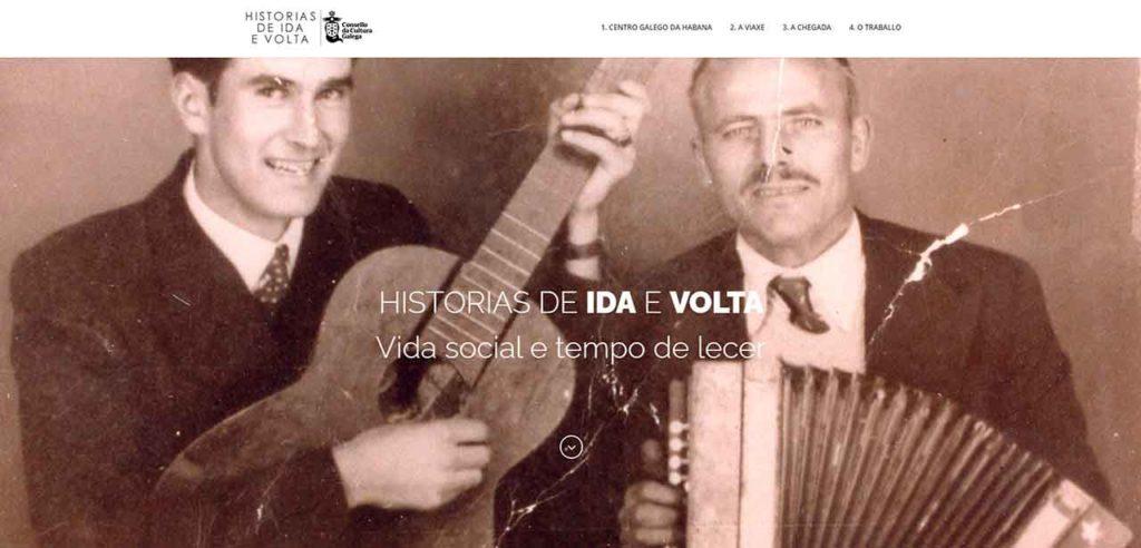 Página web del proyecto Historias de ida e volta.