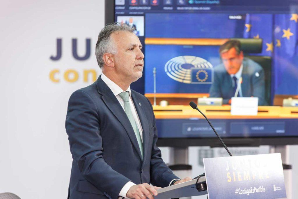 El presidente de Canarias, Ángel Víctor Torres, durante su intervención telemática ante la Comisión de Libertades Civiles, Justicia y Asuntos de Interior del Parlamento Europeo.