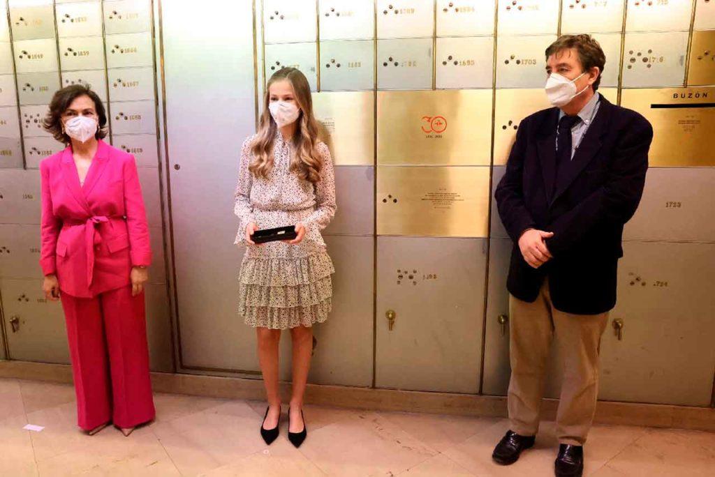 La Princesa Leonor en la Caja de las Letras del Instituto Cervantes.
