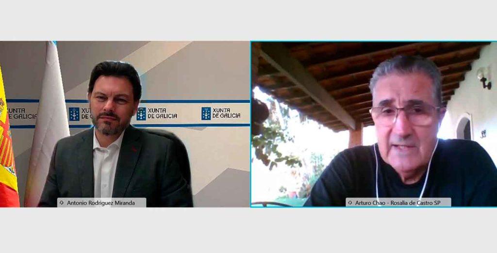 Antonio Rodríguez Miranda y Arturo Chao Maceiras, durante la videoconferencia.