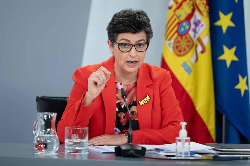 Arancha González Laya presentó la Estrategia de Acción Exterior 2021-2024 en la rueda de prensa posterior al Consejo de Ministros del 27 de abril.