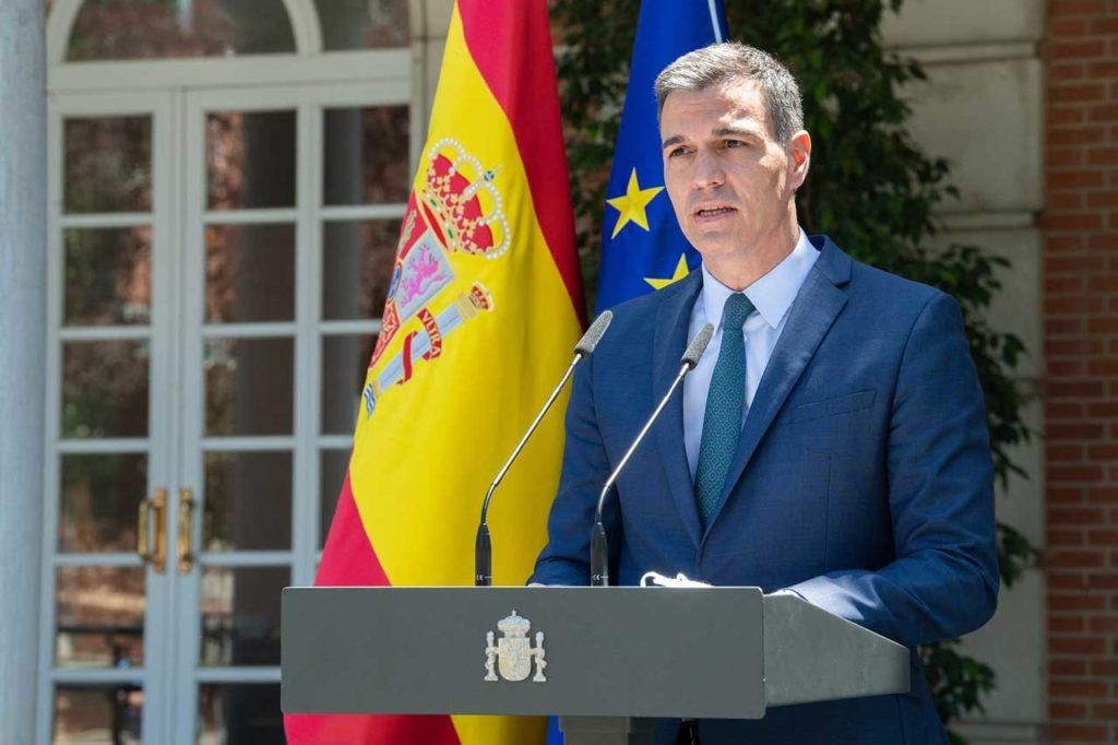 El presidente del Gobierno, Pedro Sánchez, durante su declaración institucional.
