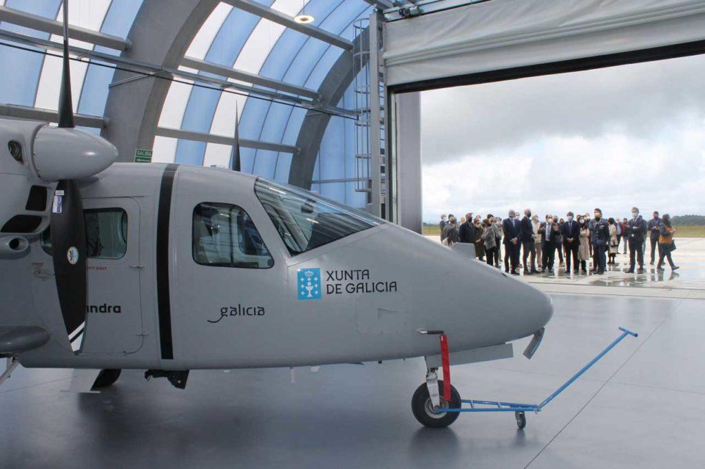 Uno de los aviones no tripulados en la base aérea de Rozas.