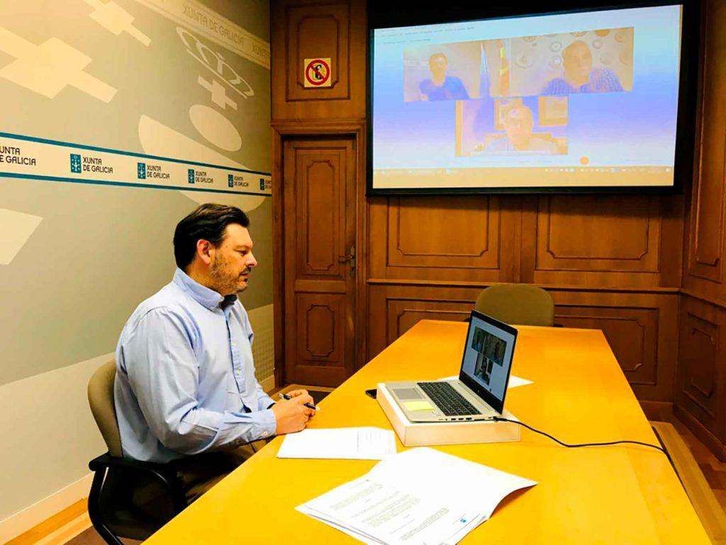 Miranda durante la videoconferencia con la Hermandad Gallega de Venezuela y Fevega.