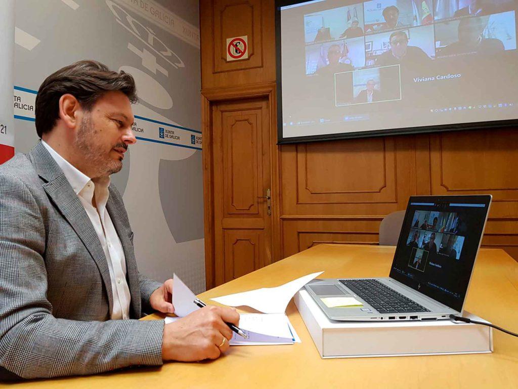 Imagen de la videoconferencia de hoy entre las autoridades de Galicia y de la Córdoba argentina.