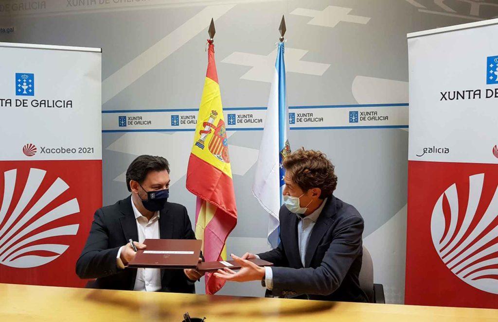 Antonio Rodríguez Miranda y Luis García Deber firmaron el convenio de colaboración.