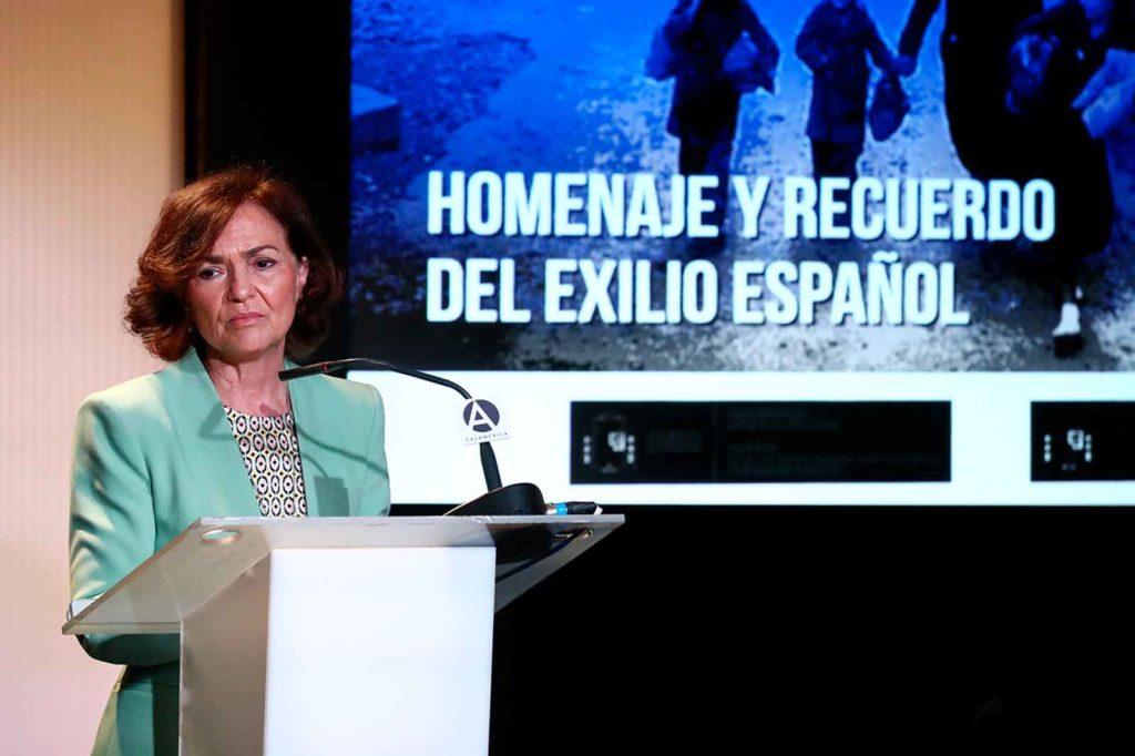 Carmen Calvo en el acto de clausura de la semana en homenaje al exilio español.