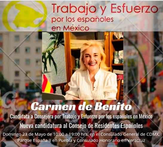 Cartel de la candidatura encabezada por Carmen de Benito.