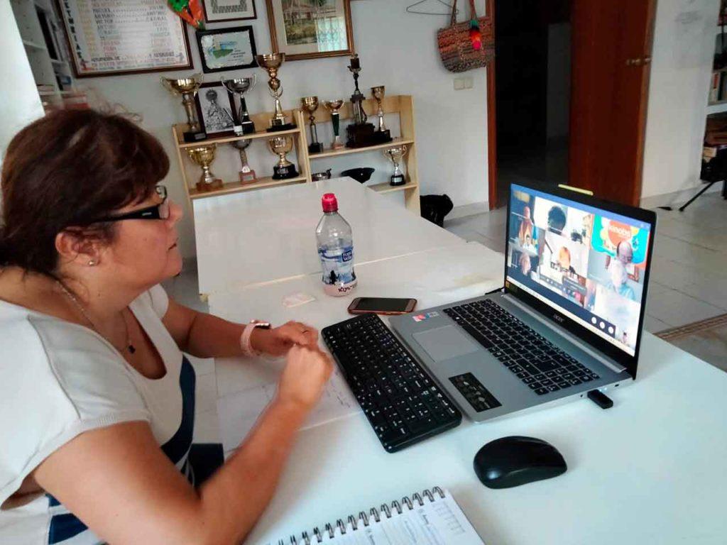 Representante de una de las entidades asturianas en un momento de la reunión telemática.
