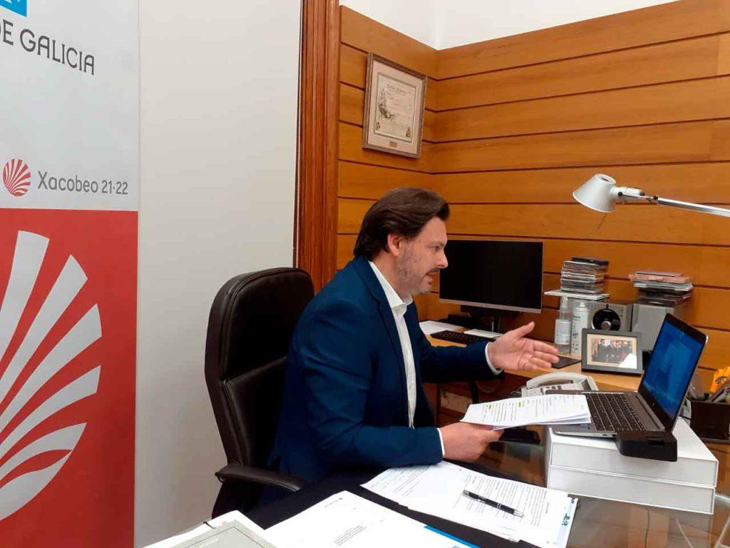 Rodríguez Miranda en el encuentro telemático con las entidades gallegas en Europa.