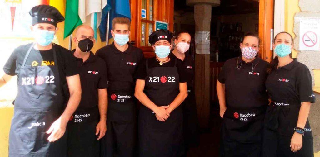 Trabajadores del restaurante del Lar Gallego de Sevilla.