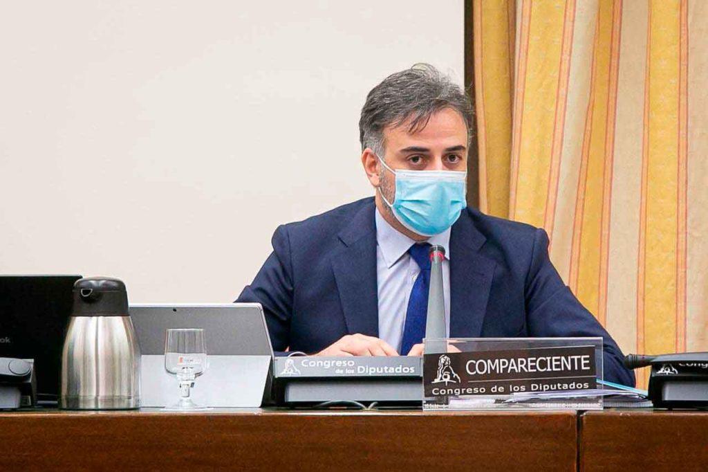 El secretario de Estado de Migraciones, Jesús Perea, durante su comparecencia.