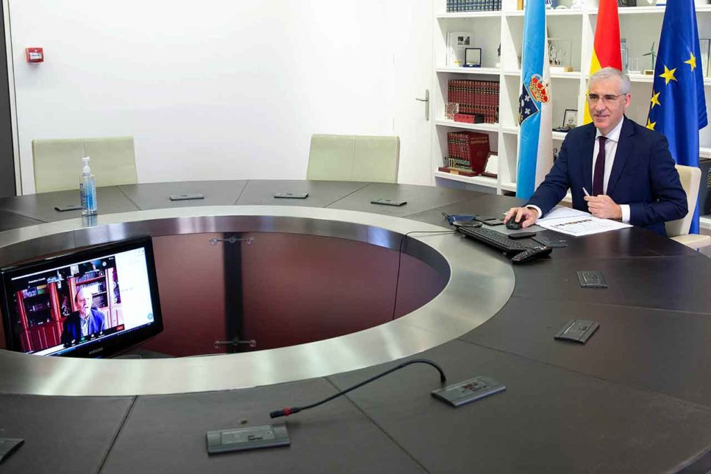 Francisco Conde en un momento de la reunión telemática.