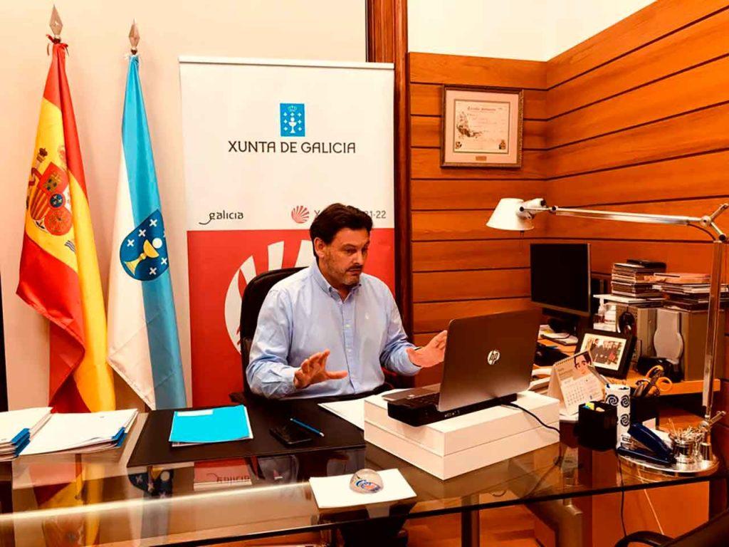 Rodríguez Miranda explicó el programa Reencontros co Xacobeo a representantes de los centros gallegos de España y Europa.