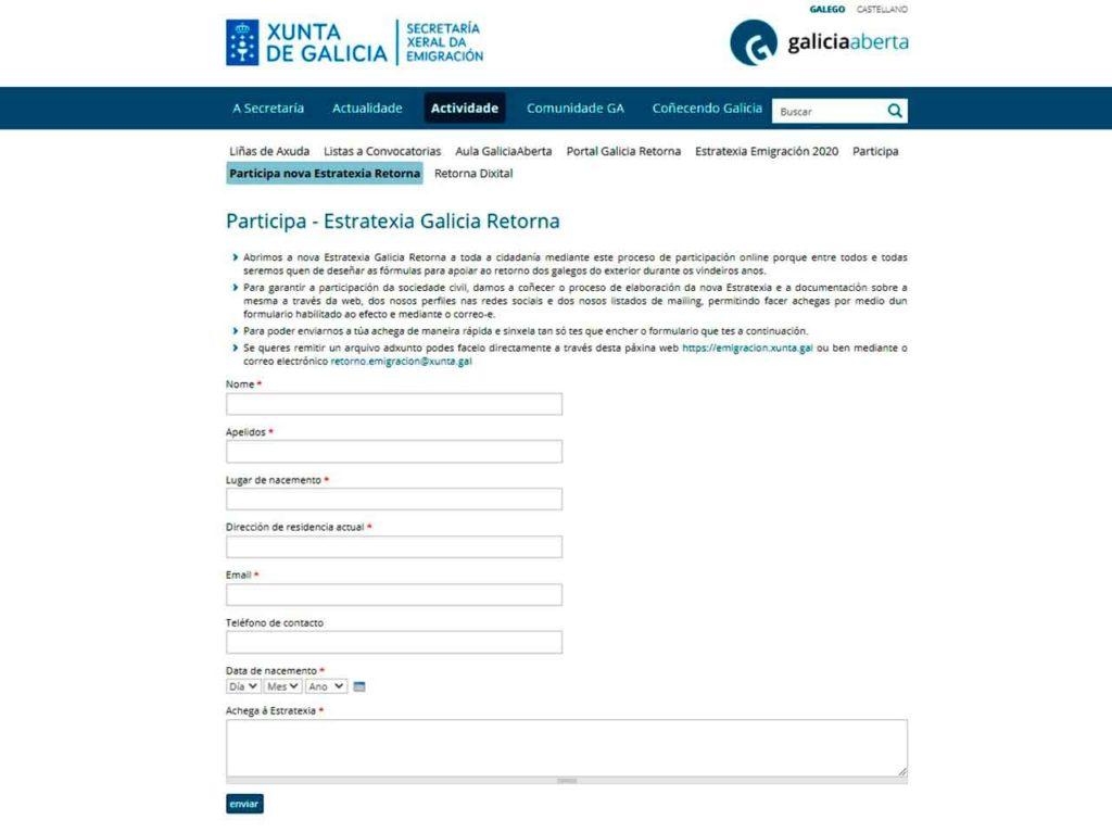 Cuestionario habilitado para la realización de propuestas a la nueva Estratexia Galicia Retorna.
