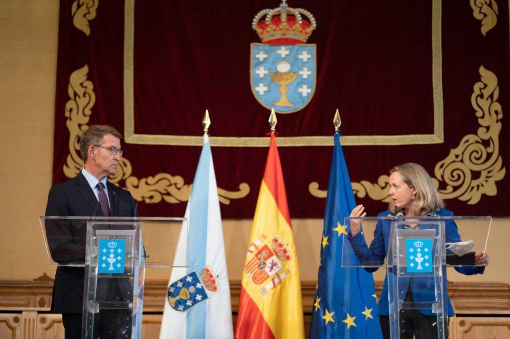 El presidente de la Xunta, Alberto Núñez Feijóo, se reunió con la vicepresidenta primera del Gobierno de España, Nadia Calviño.