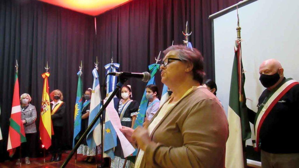 Intervención de la presidenta de la Asociación Española de Coronel Dorrego, Ángela López.