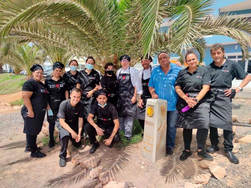 Trabajadores del restaurante de la Casa de Galicia de Fuerteventura.
