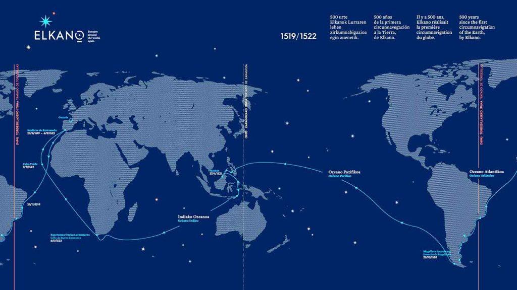 Mapa explicativo del viaje de Elkano.