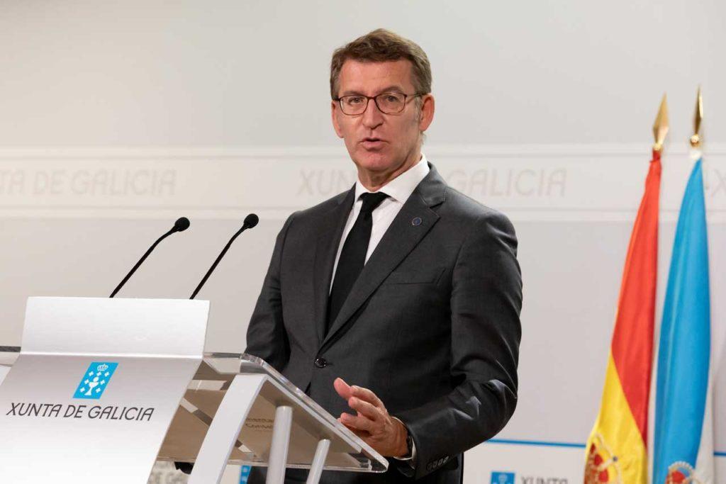 El presidente de la Xunta, Alberto Núñez Feijóo, en la rueda de prensa de presentación de los Presupuestos para 2022.