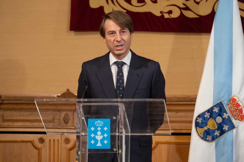 El nuevo conselleiro de Facenda e Administración Pública, Miguel Corgos López-Prado, durante su intervención en el acto de toma de posesión del cargo.