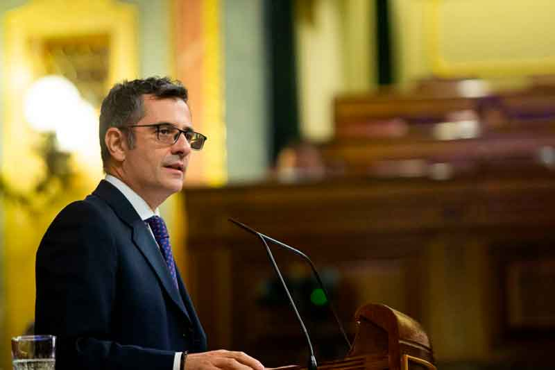 El ministro de la Presidencia, Relaciones con las Cortes y Memoria Democrática, Félix Bolaños, defendió el Proyecto de Ley de Memoria Democrática.
