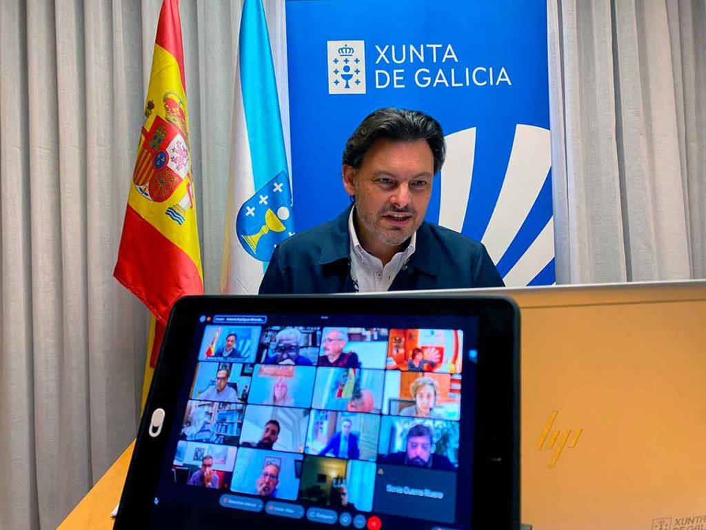 Rodríguez Miranda en un momento de la cuarta reunión de la Comisión Delegada del Consello de Comunidades Galegas, realizada de forma telemática el 22 de octubre.